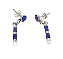 Pierced Zebra Sterling Silver Hanging Earrings - Lapis Lazuli