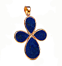 18K Gold and Lapis Lazuli Tear Cross