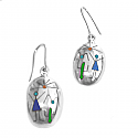 Sterling Silver Oval Diaguitas Hanging Earrings
