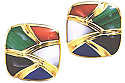 Combined Stone 18K Gold Post or Clip Earrings