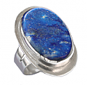 Wide Frame, Oval Lapis Lazuli and Sterling Silver Ring