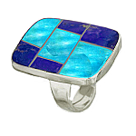 Lapis Lazuli, Turquoise and Sterling Silver Navajo Ring