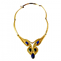 Buttlerfly Lapis Lazuli, Malachite and Gold Vermeil Necklace