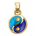 Large 18K Gold Lapis Lazuli and Turquoise Yin Yang Charm
