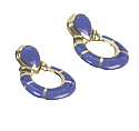 Post or Clip 18K Gold and Lapis Lazuli Earrings