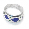 Diamond and Dot Inlayed Sterling Silver Band Ring