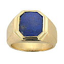 18K Gold and Lapis Lazuli Hexagonal Chevalier Ring