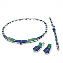 Wave Lapis Lazuli and Malachite Sterling Silver Set