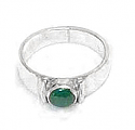 Medium Small Stone Round Sterling Silver Ring