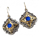 Grecian Sterling Silver, 18K Gold and Lapis Lazuli Hanging Earrings