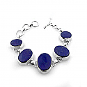 Sterling Silver and Lapis Lazuli Florence Cabochons Toggle Bracelet
