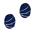 Sterling Silver and Lapis Lazuli Oval Channeling Post or Clip Earrings