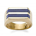 18K Gold and Lapis Lazuli Stripped Ring