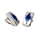 Arlequin Post or Clip Earrings, Sterling Silver and Lapis Lazuli