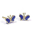 18K Gold Butterfly Post Earrings