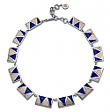 Lapis Lazuli and Nacar Sterling Silver Abstract Necklace