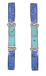 Sterling Silver, Lapis Lazuli and Turquoise Hinge Hanging Earrings